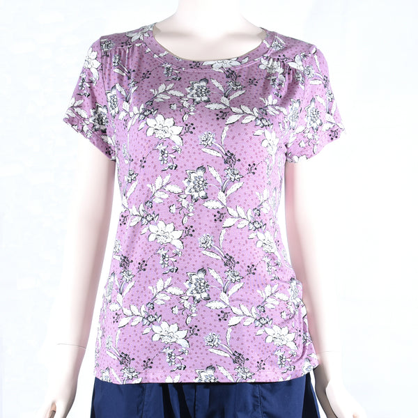 Patch Ladies Short Sleeve Round Neck Printed Cotton Rayon Top