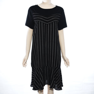 Patch Ladies Short Sleeve Black and White Stripe Dress