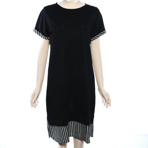 Patch Ladies Short Sleeve Plain and Stripe Dress