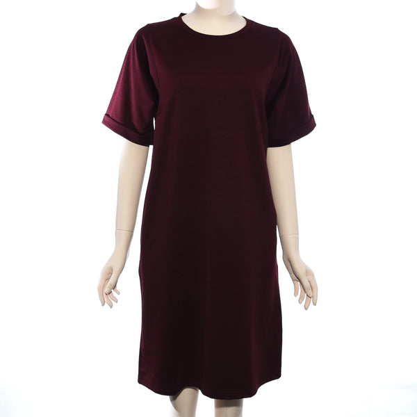 Patch Ladies Short Sleeve Maroon Woven Dress