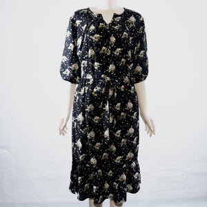 Patch Ladies Long Sleeve Flower Dress