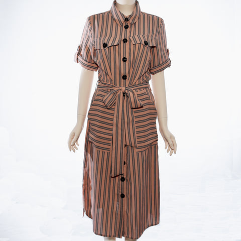 Patch Ladies Short Sleeve Polyester Striped Dress