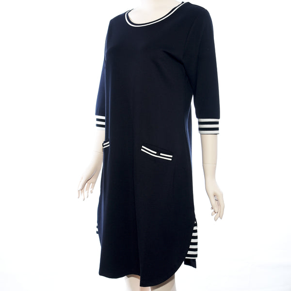 Patch Ladies Short Sleeve Navy Stripe Dress