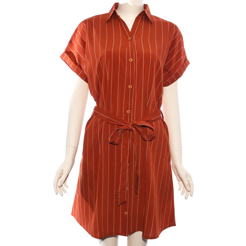 Patch Ladies Brown Short Sleeve Stripe Knit Dress