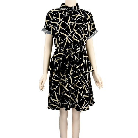 Patch Ladies Dress - Black Button up Printed Dress with Waist Belt
