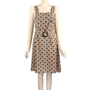 Patch-Ladies-Dress-Short-Sleeveless-Brown-Polka-Dot-Dress-with-Belt-S0504005