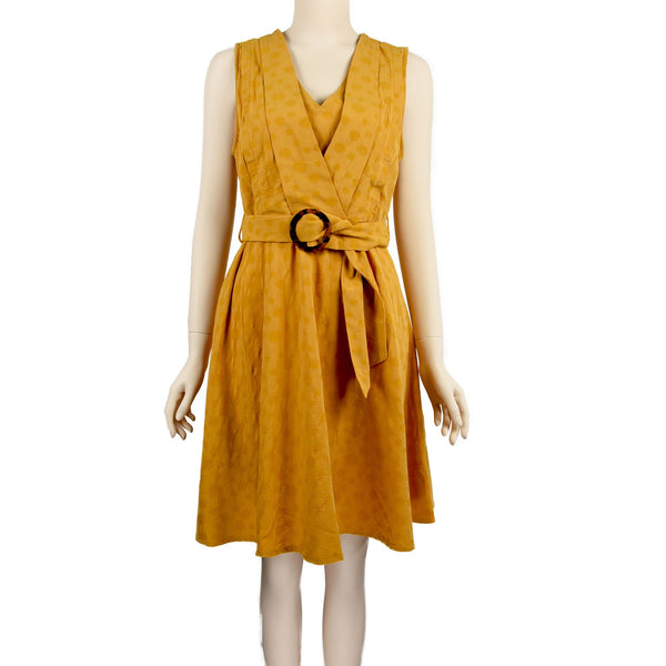 Patch Ladies Sleeveless Saffron Yellow V-Neck Dress with Belt
