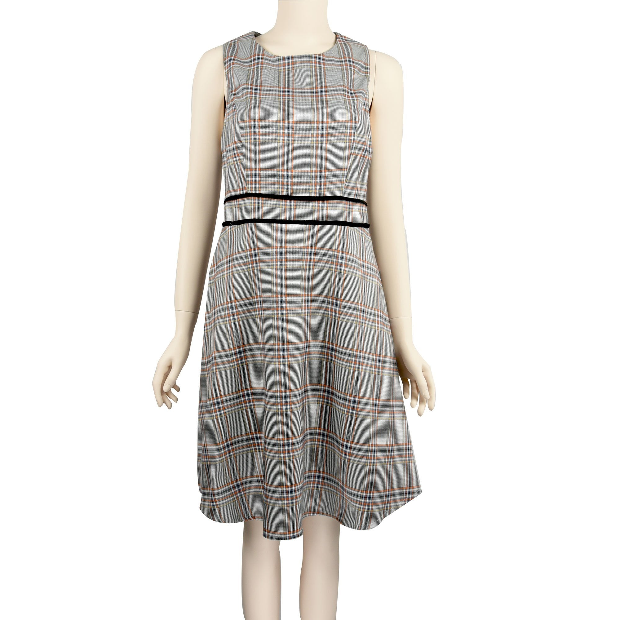 Patch Ladies Dress - Sleeveless Grid Printed Dress with neon piping