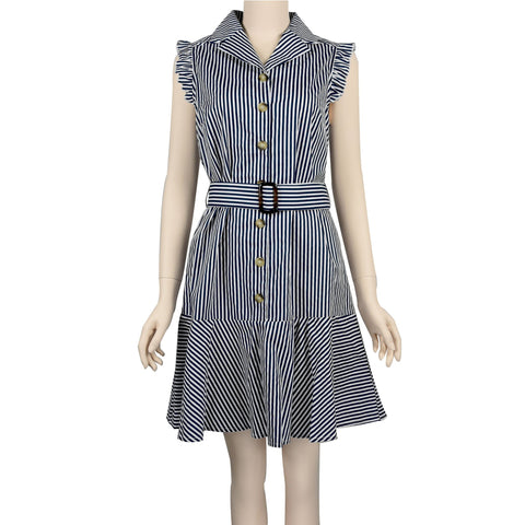 Patch Ladies Ruffle Sleeveless Striped Collar Dress with Belt