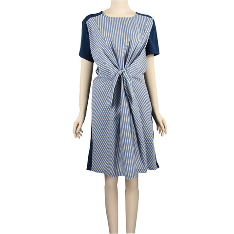Patch Ladies Short Sleeve Round Neck Pleated Striped Dress