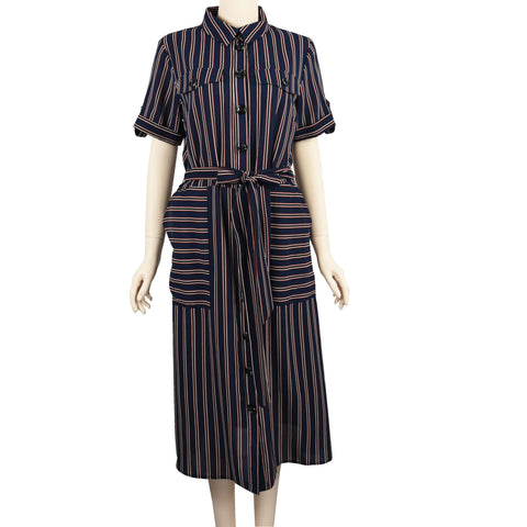 Patch Ladies Short Sleeve Polyester Collar Striped Dress