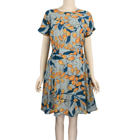 Patch Ladies Short Round Neck Sleeve Short Sleeve Floral Midi Dress