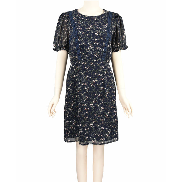 Patch Ladies Short Sleeve Round Neck Floral Printed Chiffon Dress