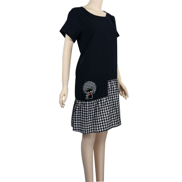 Patch Ladies Short Sleeve Round Neck Max Dress with checked bottom and Cat Embroidery