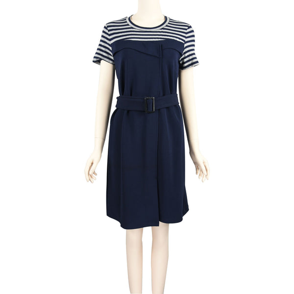 Patch Ladies Short Sleeve Round Neck Solid Navy and Grey Striped Knit Dress with Belt