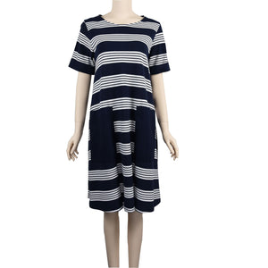 Patch Ladies Short Sleeve Round Neck Striped Dress with Pockets