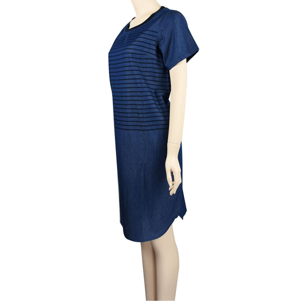 Patch Ladies Short Sleeve Round neck Navy Blue Striped Soft Denim Dress with Side Pockets