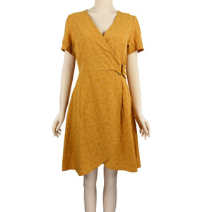 Patch Ladies Short Sleeve Saffron Yellow V-Neck Dress with Belt