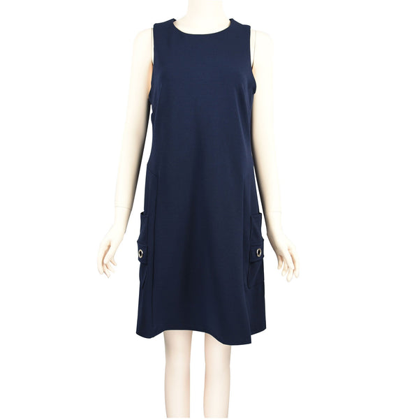 Patch Ladies Sleeveless Structured Round-neck Dress with Side Pockets