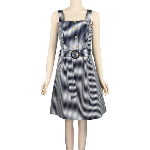 Patch Ladies Sleeveless Tiered Midi Striped Dress with Belt