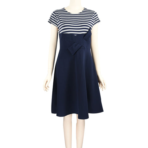 Patch Ladies Solid and Striped Knit High Waist Dress