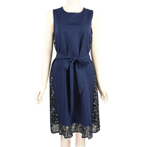 Patch Ladies Structured Solid Navy and Floral Chiffron Printed Dress