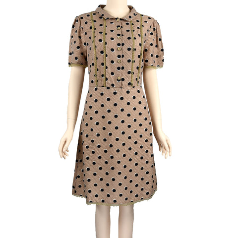Patch-Short-Sleeve-Lark-Colour-Polka-Dot-Dress-with-Collar-S0504004