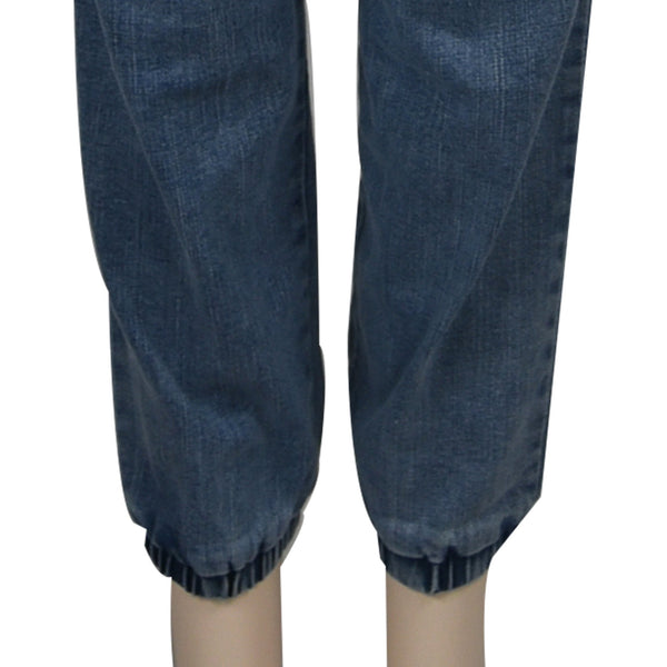 Patch Ladies Elastic Denim Long Pants