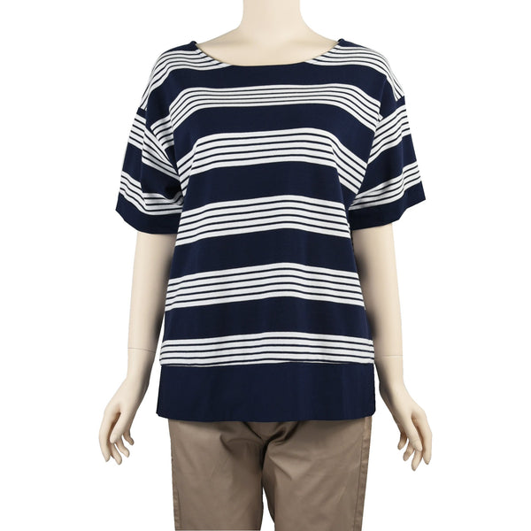 Patch Ladies-Round Neck Navy Blue and White Striped Top