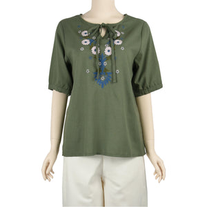 Patch Ladies Chive Green Short Sleeve Round Neck Linen Embroidered Top