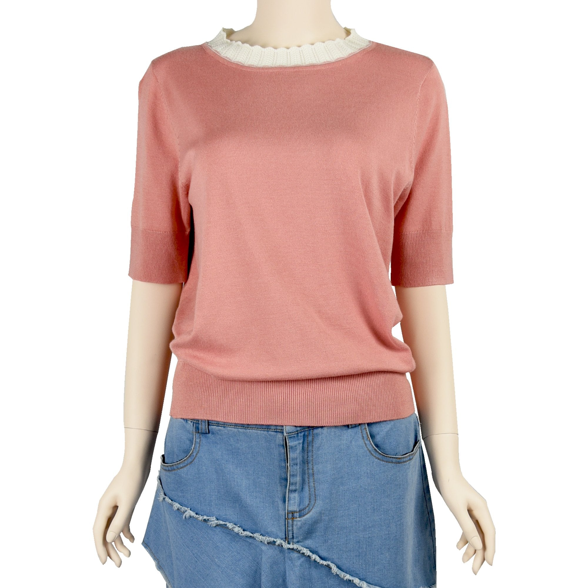 Patch Ladies Coral Pink short sleeve Cotton Knit Top with lace trimming