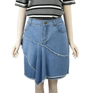 Patch Ladies Denim Skirt in Stretch with Pockets