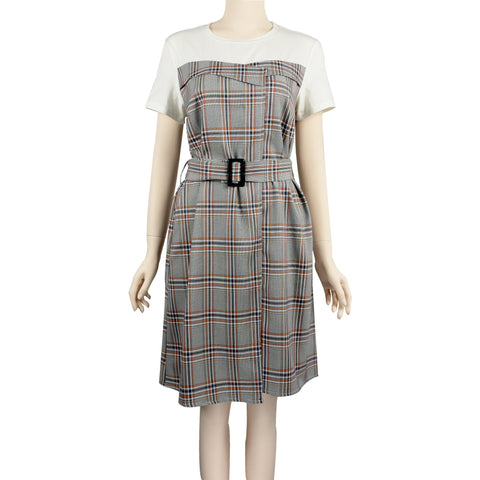 Patch Ladies Dress - Grid Printed Short Sleeve Dress with Knit Top and Belt