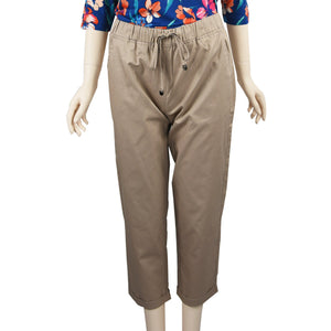 Patch Ladies Elastic Waist Cotton Pants - Khaki