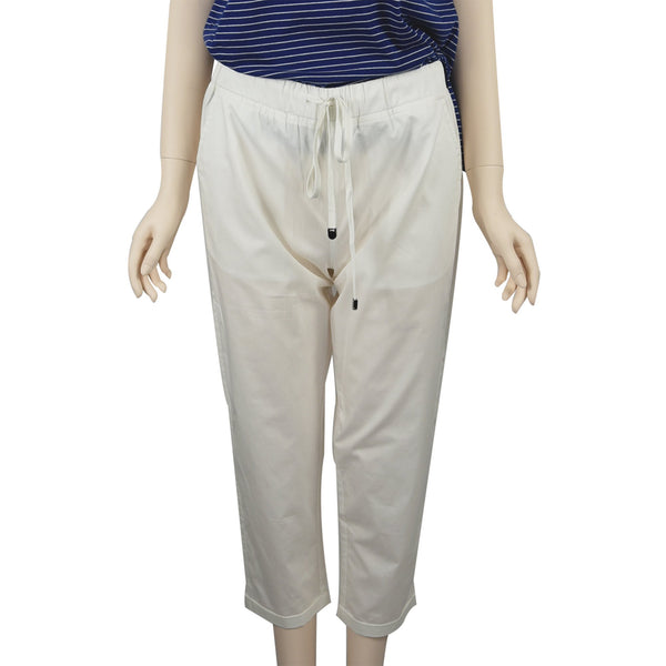 Patch Ladies Elastic Waist Cotton Pants - White