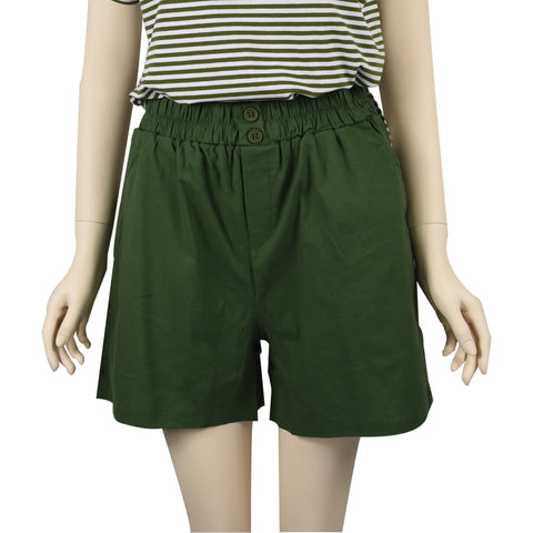 Patch Ladies Elastic Waist Cotton Shorts-Green