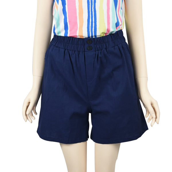 Patch Ladies Elastic Waist Cotton Shorts-Navy Blue