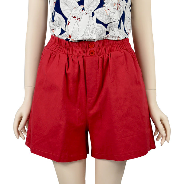 Patch Ladies Elastic Waist Cotton Shorts-Red