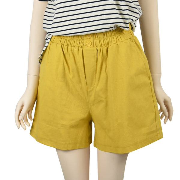 Patch Ladies Elastic Waist Cotton Shorts-Yellow