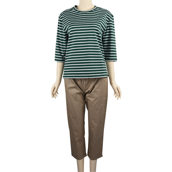 Patch Ladies Mid Sleeve Cotton Striped t-Shirt-Green