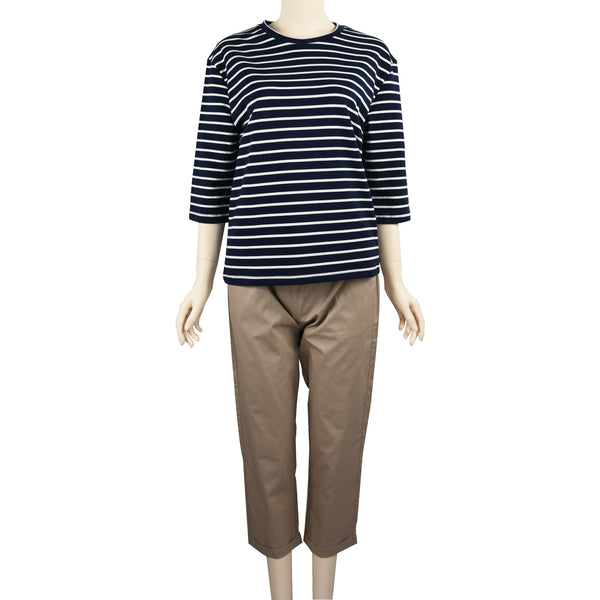 Patch Ladies Mid Sleeve Cotton Striped t-Shirt-Navy Blue