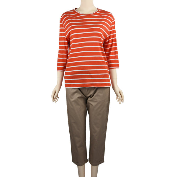 Patch Ladies Mid Sleeve Cotton Striped t-Shirt-Orange