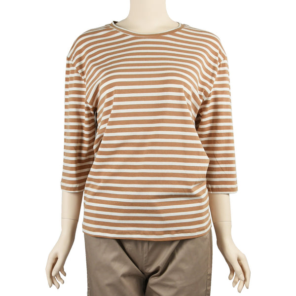 Patch Ladies Mid Sleeve Cotton Striped T-Shirt - Patch.sg