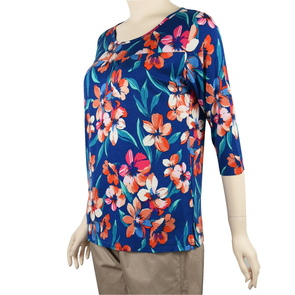 Patch Ladies Mid Sleeve Round Neck Floral Printed Cotton Rayon Knit Top-508 Red Navy Flower