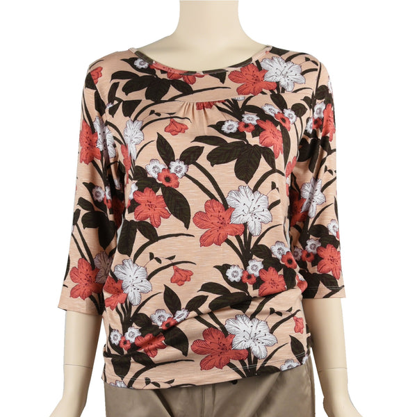 Patch Ladies Mid Sleeve Round Neck Floral Printed Cotton Rayon Knit Top-380 Red White Flower