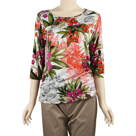 Patch Ladies Mid Sleeve Round Neck Floral Printed Cotton Rayon Knit Top-505 Red Green Flower