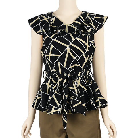 Patch Ladies Ruffle Sleeve V Neck Polyester Blouse with Waist Belt