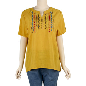 Patch Ladies Saffron Yellow Short Sleeve V Neck Linen Embroidered Top