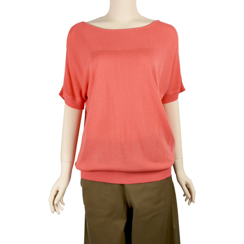 Patch Ladies Short Sleeve Coral Pink Cotton Knit Top