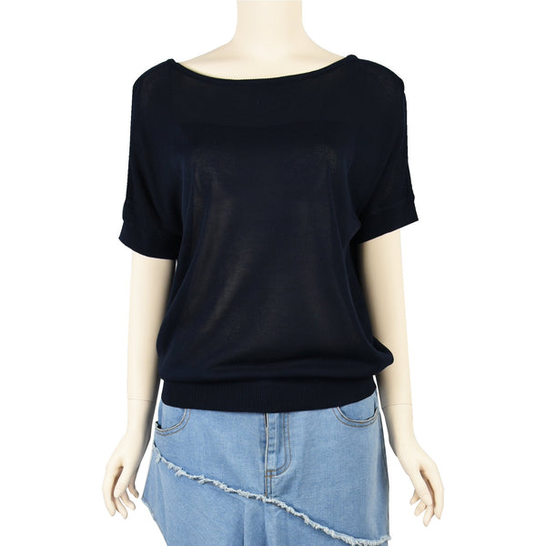 Patch Ladies Short Sleeve Cotton Navy Blue Knit Top